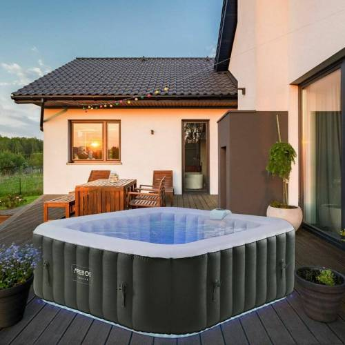 AREBOS In-Outdoor Whirlpool Spa Pool Quadrat Wellness Massage