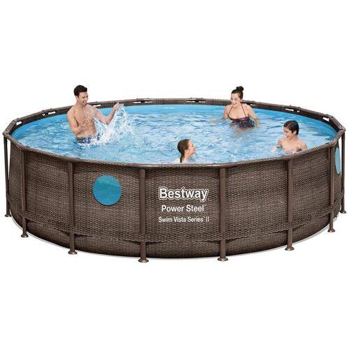 Bestway 56725 Power Steel Swim Vista oberirdischer Pool runder
