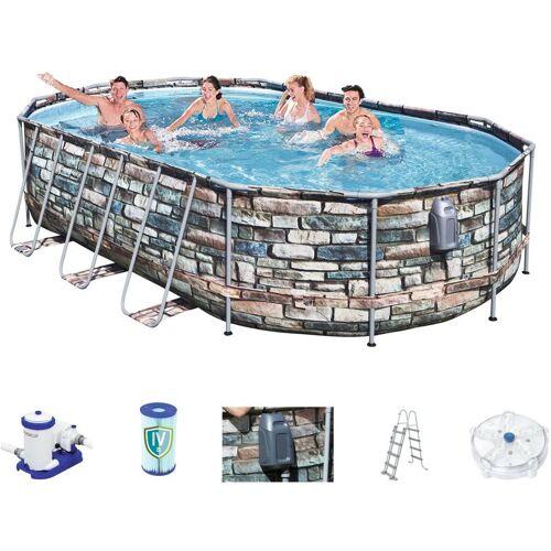BESTWAY Power Steel Jet Oval Frame Pool Set 610 x 366 56719 - Bestway