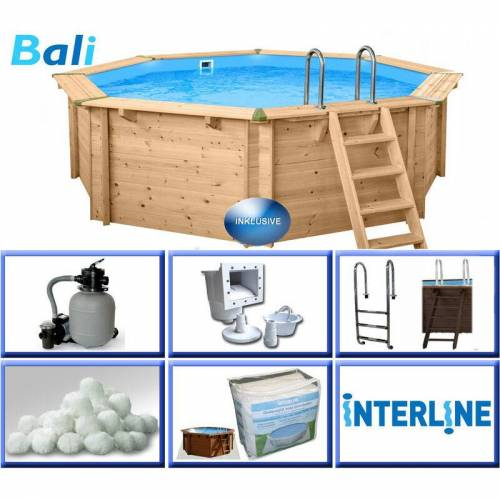Interline - Holzpool-Set BASIC Bali 8-Eck 4,40 x 1,36 m