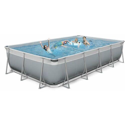 NEW PLAST Oberirdischer rechteckiger Pool 520x265 H125 New Plast komplett grau