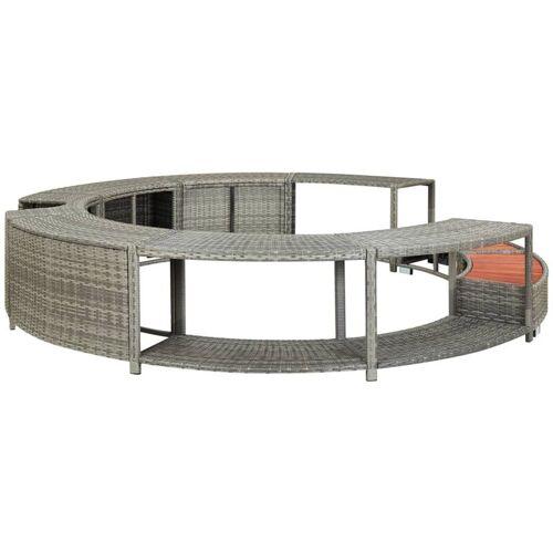 Vidaxl - Whirlpool-Umrandung Grau Poly Rattan