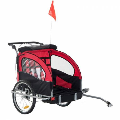 HOMCOM ® Kinderfahrradanhänger Kinderwagen Fahrradanhänger 2 in 1 Jogger