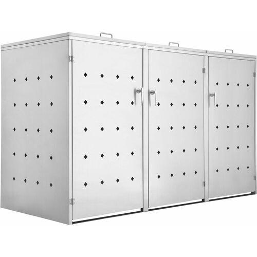 ZELSIUS Edelstahl Mülltonnenbox 'Rhombus' mit Klappdeckel für 3 Tonnen - ZELSIUS