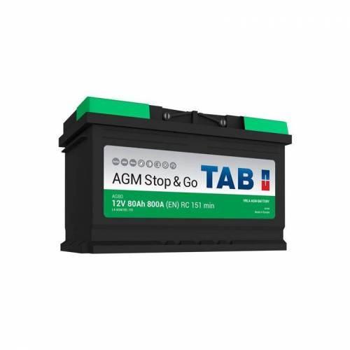 TAB Starterbatterie TAB Start & Stop AGM 12V 80Ah 800A L4 AG80