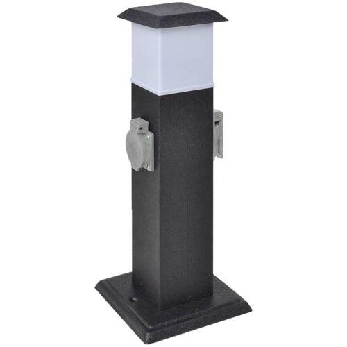 VIDAXL Gartensteckdose Steckdosenturm Schwarz mit Lampe