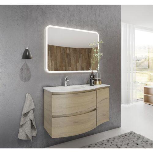 CAESAROO Badezimmer Badmöbel 100 cm Atene aus Eiche Gold Holz mit Waschtisch