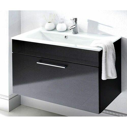 Lomadox - Badezimmer Waschtisch 90cm mit Glas-Waschbecken weiß