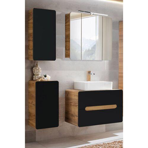 BADELO Badezimmermöbel-Set mit Keramik-Waschbecken NEW-LUTON seidenmatt
