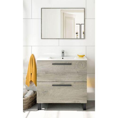 Caesaroo - Badezimmerschrank auf dem boden 80 cm Eiche mit waschtisch