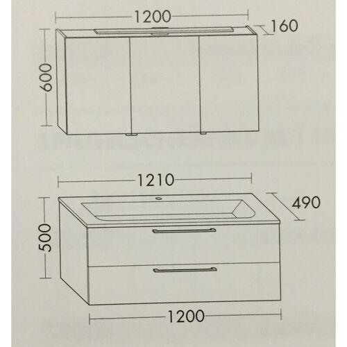 BURGBAD Set, mit Waschtisch 121cm mit Unterschrank und Spiegelschrank - Burgbad