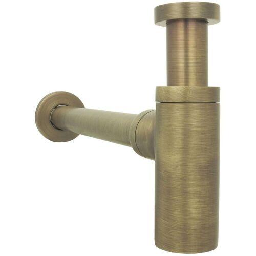 DIRKS-TRAUMBAD Siphon für Waschbecken Antik Braun Retro Messing Flaschnesiphon