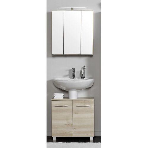 Lomadox - Waschbeckenschrank & Spiegelschrank Set BERGAMO-03, Buche