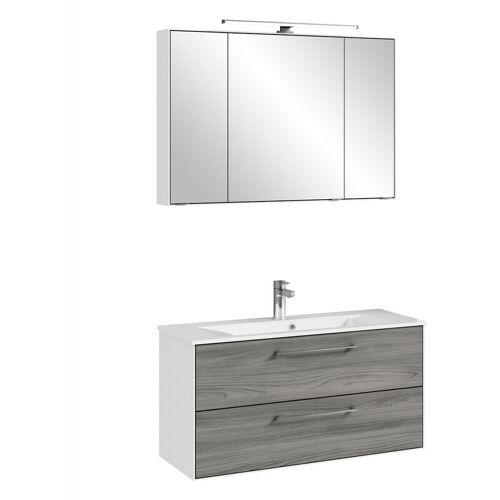 LOMADOX Waschtisch & Spiegel FES-3065-66 Badezimmer Möbel in weiß matt &