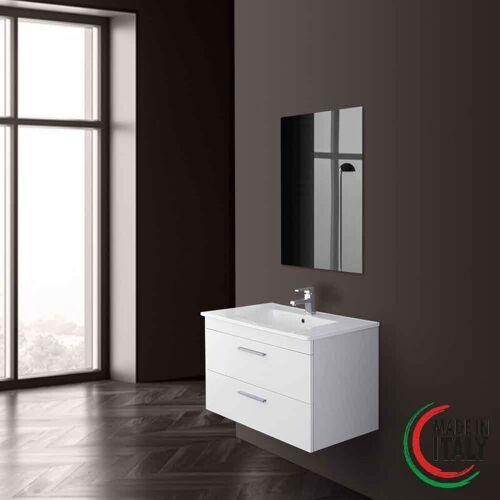 FERIDRAS Abgehängter Badezimmerschrank 81 cm weiße Farbe stella 799005   Weiß