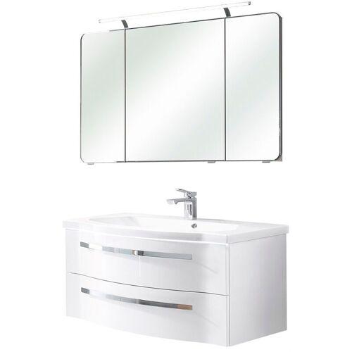 Lomadox - Bad-Set mit Unterschrank, Waschbecken & Spiegelschrank