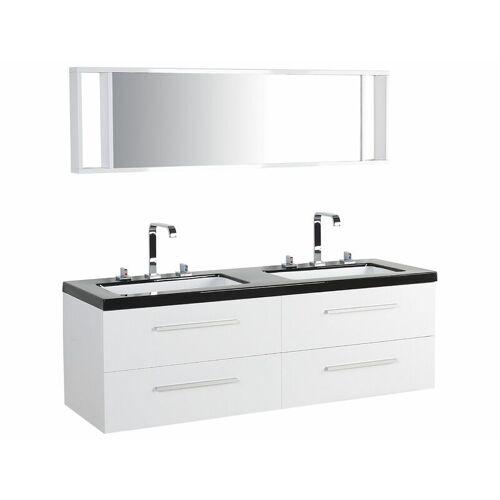 Beliani - Badmöbel Weiß MDF Platte Acryl 59 x 138 x 48 cm Modern