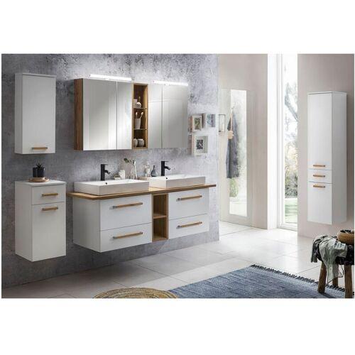 LOMADOX Badmöbel Komplett Set mit 165cm Doppel-Waschtisch DABO-04 in weiß mit