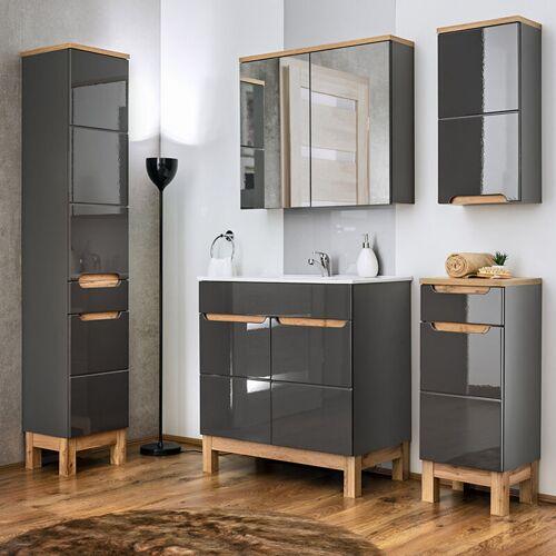 Lomadox - Badezimmer Möbel Set 5-teilig mit 60 cm Waschtisch aus