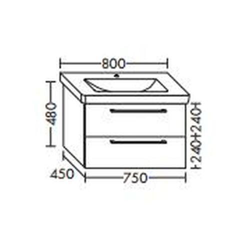 BURGBAD Waschtischunterschrank für Durastyl Waschtisch 80cm, WVYA054 - Burgbad