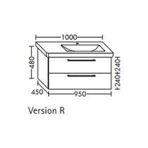 BURGBAD Waschtischunterschrank für Durastyl Waschtisch 95 x 10, WUUU095L