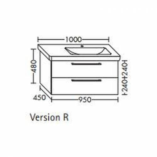 BURGBAD Waschtischunterschrank für Durastyl Waschtisch 95 x 10, WUUU095R