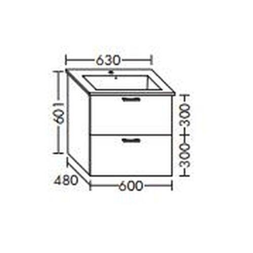 BURGBAD Waschtischunterschrank für Starck Waschtisch 40cm 072343, WVMK040R