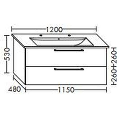BURGBAD Waschtischunterschrank für Villeroy & Boch Levita 115 x 104 CK xx ,