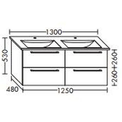 BURGBAD Waschtischunterschrank für Villeroy & Boch Levita 125 x 111 DL xx,