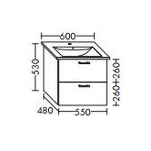 BURGBAD Waschtischunterschrank für Villeroy & Boch Levita 500 x 124 60 xx ,