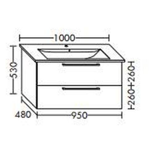 Burgbad Waschtischunterschrank für Villeroy & Boch Levita 95 x 104 AK