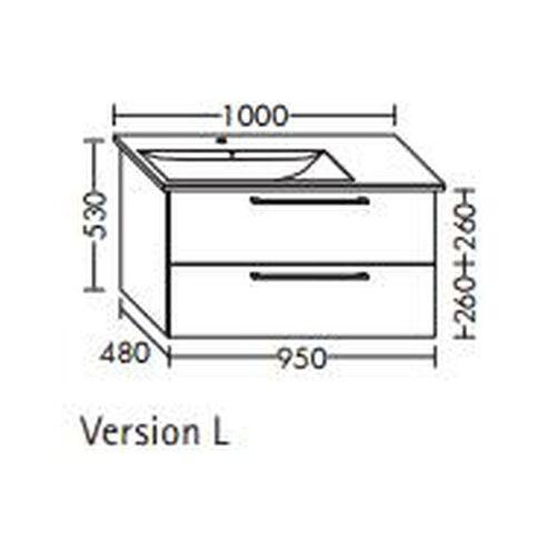BURGBAD Waschtischunterschrank für Villeroy & Boch Levita 95 x 134 L1 xx,