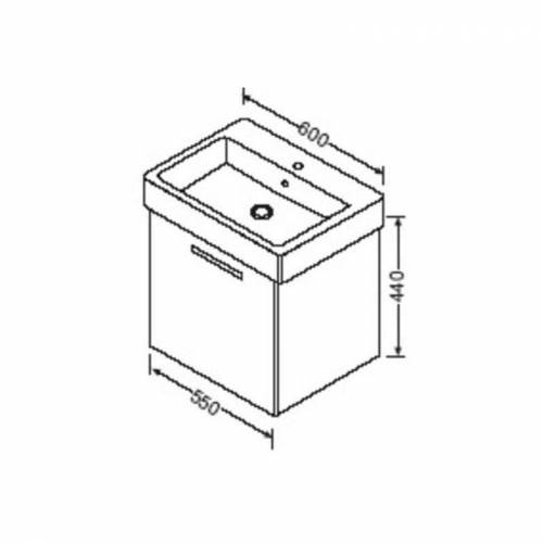 BURGBAD Waschtischunterschrank zu Duravit Vero 60cm 045460, WUHD055 - Burgbad