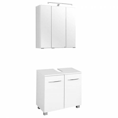 LOMADOX Waschbeckenschrank & Spiegelschrank Set BERGAMO-03, weiß, B x H x T