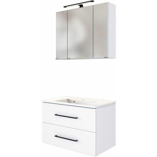 LOMADOX Waschplatz Set inkl. LED Spiegelschrank und Waschbecken MANLY-03 weiß