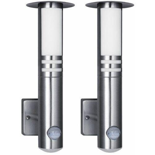 ETC-SHOP 2x LED Außen Wand Lampe Edelstahl Garten Laterne Balkon Leuchte