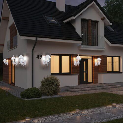 Etc-shop - 6er Set LED Wand Leuchten ALU Laternen Landhaus Stil Außen