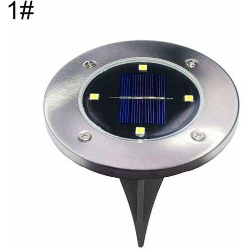 BARES Solar-Rasenlicht, 4 runde Solar-Lampen, Garten Hof, Rasen, Weg unter