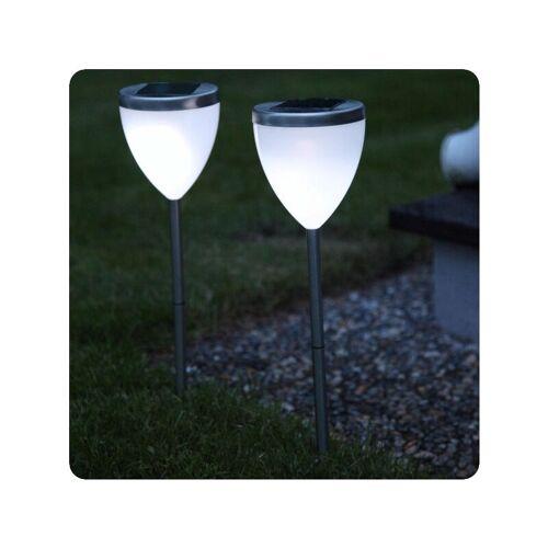 BEST SEASON 2er-Set LED Solarlampen aus Edelstahl