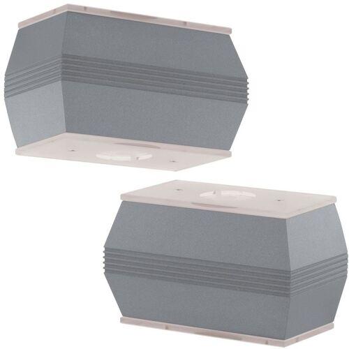 ETC-SHOP 2er Set LED Außen Wand Lampen Terrassen ALU Spot Beleuchtungen Glas