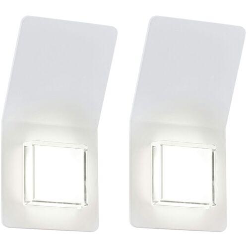 ETC-SHOP 2er Set LED Außen Wand 5 Watt Leuchte Balkon Garagen Beleuchtung silber