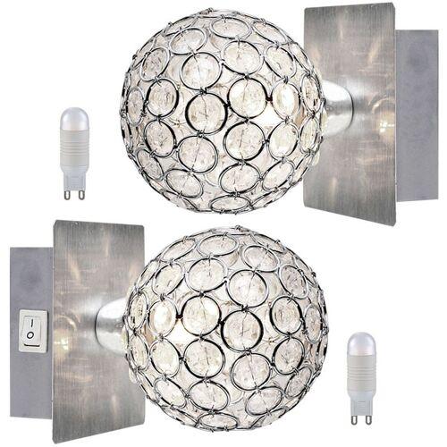 ETC-SHOP 2er Set Wand Leuchten Kristall Kugeln Spot Lampen Schalter im Set