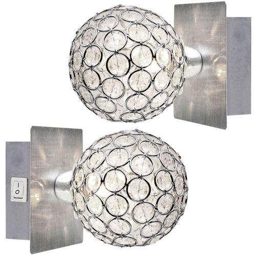 ETC-SHOP 2er Set Wand Leuchten Kristall Kugeln Spot Lampen Schalter