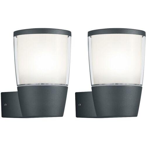 ETC-SHOP 2x LED Außen Wand Strahler Lampe ALU UP Terrassen Beleuchtung Park
