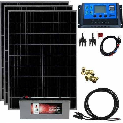 LIECKIPEDIA 300 Watt Insel Solaranlage 12V Basis Set, 180 Ah Batteriespeicher