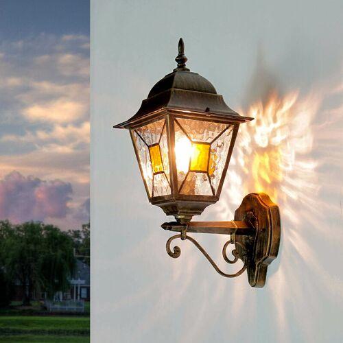 LICHT-ERLEBNISSE Rustikale Außenleuchte SALZBURG Laterne Ornamentglas