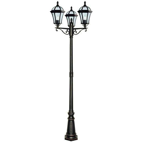 03-SEARCHLIGHT Stehlampe 3 Lampen Capri, aus Aluminium und Glas, rustikal braun