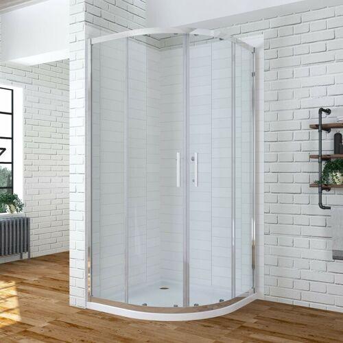 AQUABATOS ® Duschkabine 90x90 cm Viertelkreis Runddusche Duschwand Glas halbrund