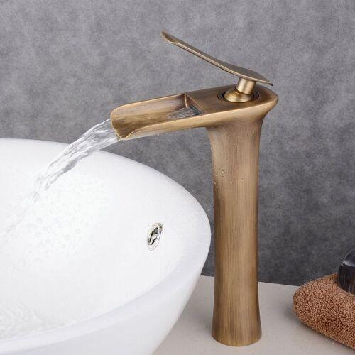 HQB® Armatur für Waschbecken, antikes Messing, hoch, Waschtischarmatur