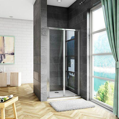 Aica 80x185cm Duschkabinen Klapptür 5mm ESG Glas Nischentür badezimmer